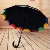 Quality Double Canopy Bright Multi Colored Umbrella Hook Plastic Handle Black Metal Frame for sale