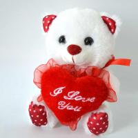 China Cute Plush Toys for baby, Valentine's Day Present, White Bear Plush with Heart. on sale