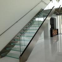 Quality Double stringer staircase design with laminated glass steps for sale