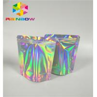 Quality Mylar Hologram Zipper Customized Paper Bags For Eyelash Glue Cosmetics Products for sale