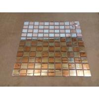 Quality Fiber Mesh Mirror Glass Mosaic Wall Tiles , Rose Gold Silver Glass Backsplash Tile for sale