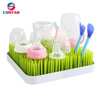 Quality Plastic Baby Bottle Drying Rack Square Large Countertop Drainer Mat and Dryer Stand for Infant Dishes Bottles and Access for sale