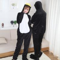 Quality Cute Penguin Cartoon Flannel Black Pajamas for sale