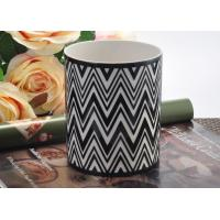Quality Round Hand Made Ceramic Candle Holder Black white Interphase Engrave for sale
