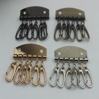 Quality Leather Key Case Wallets Unisex Keychain zinc alloy Key Holder Ring with 6 Hooks Snap Closure for sale