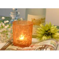 Buy Gifts Tealight Glass Candle Holder Orange Romantic Heat Resisting at wholesale prices
