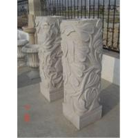 China Flower Design Stone Carving Pillars, Decorative Carved Stone for Outside on sale