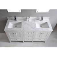 Quality Nature White Marble Bathroom Countertops , Marble Island Countertop With Oval Sink for sale