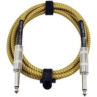 Quality 10 Foot Guitar Instrument Cable 1/4 Inch TS to 1/4 Inch TS 10-FT Brown Yellow Tweed Cloth Jacket for sale