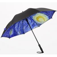 Quality Printed Collapsible Golf Umbrella , Wind Resistant Automatic Umbrella Plastic Cap for sale