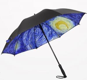 Quality Printed Collapsible Golf Umbrella , Wind Resistant Automatic UmbrellaPlastic Cap for sale
