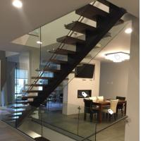 Quality Classic european style black stair steel tread staircase for sale