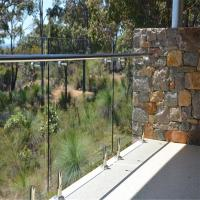 Quality Clear Glass Panel steel polish spigots design fencing railing system for sale