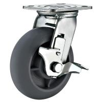 "Quality Heavy Duty Lock Casters Gray Rubber Wheels 4""x 2"" Swivel Top Plate Mounted for sale"