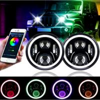 Quality 3700lm Jeep Wrangler Headlights , 7 Inch Round LED Headlights RGB Halo with Angel Eyes for sale