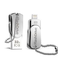 Quality Lighting OTG Phone USB Flash Drive , iPhone Swivel Metal 32GB USB Memory Stick for sale
