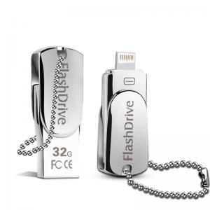 Quality Lighting OTG Phone USB Flash Drive , iPhone Swivel Metal 32GB USB Memory Stick for sale