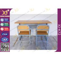 Quality Customized Size Double Student Desk And Chair Set For School Kids with Plywood + Steel Material for sale