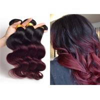 Quality Beautiful Body Wave 24'' 26'' 28' Brazilian Remy Hair , Black And Red Ombre Hair Extensions for sale
