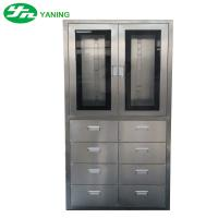 Quality Stainless Steel Medical Cabinet With 8 Pcs Drawer Half Swing Door Adjustable Shutter for sale