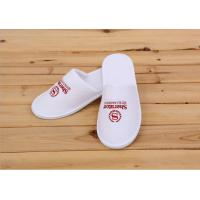 Quality Logo Printed White Color Disposable Hotel Slippers For Womens / Mens / Kids for sale