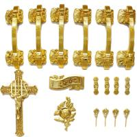 Quality PP Material Coffin Furniture Casket Cross And Handle Set HS9001 for sale