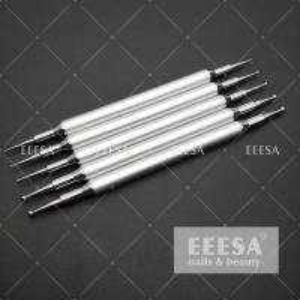 Quality 5PCS Set Nail Dotting Tools Silver Color Metal Handle Nail Art Tools Nails Beauty for sale