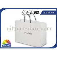 Quality Elegant White Kraft Paper Tote Bag / Paper Shopping Bags with Handles for Garment Packaging for sale