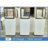 Quality Luxury Jewellery Shop Display Cabinets Square Matte White Stain Steel Frame for sale