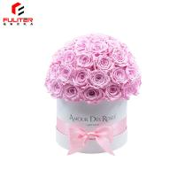 China Luxury round rose flower bouquet flower gift box made of paper on sale