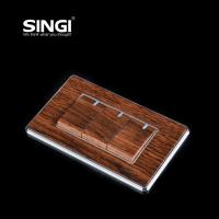Buy Flat plate 3 gang 1way wood color wall light switch waterproof at wholesale prices