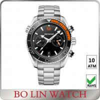 Quality Simple Japanese Chronograph Stainless Steel Sports Watch / Metal Watches For Mens for sale