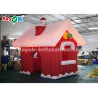 Quality SGS ROHS Inflatable Christmas Santa Claus House Red + White Color for sale