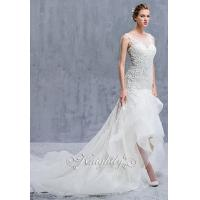 Quality Sleeveless Sheer Lace Neckline Applique Sheath Waltz-Length Gown for sale
