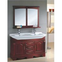 Quality Red wood color Ceramic bathroom vanity traditional style 135 X 48 X 85 / cm for sale