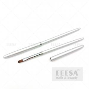 Quality Silver Metal Handle Diamond Decorations Flat Square Nail Art Gel Brush for sale