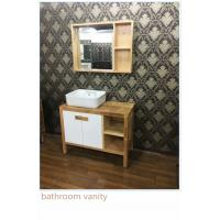 Quality 100cm Natural Wood Square Sinks Bathroom Vanities , Small Bathroom Vanity With Sink for sale