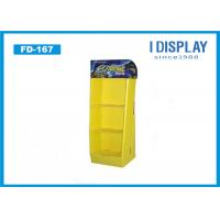 China Yellow Paper Floor Display Stands , 3 Tier Cardboard  Corrugated Display Stand on sale