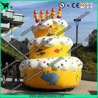 Quality 5m Advertising Inflatable Birthday Cake Model With Custom Logo Printing for sale
