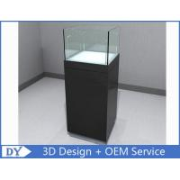 Quality Glossy Black Custom Glass Display Cases , Square Display Pedestals With Cabinet for sale