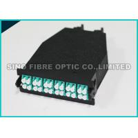 Quality Low Loss Fiber Optic Cassette 24 F Shuttered LC to MTP 50 μm Aqua Adapter for sale