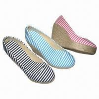 Quality Women's Wedge Shoes with Canvas Upper, Lining, PU Insole, TPR and Flax Outsole for sale