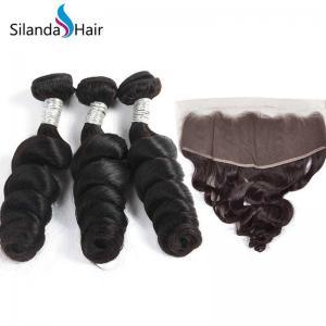 China Silanda hair Brazilian Loose Wave Hair Weave 3 Bundles Human Hair With 13X4 Lace Closure on sale