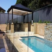 Quality Swimming Pool Flooring mount Tempered glass balustrades with steel spigots for sale