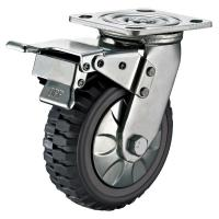 Quality Trolley 8 Inch Heavy Duty Caster Wheels With Brake Swivel Plate Non Marking for sale