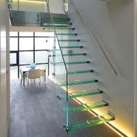 Quality Straight Mild Steel Glass Modern Floating Staircase / Prefab Steel Glass Stair Indoor for sale