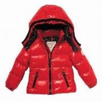 Quality Children's Down Jacket, Waterproof Zipper and Breathable Fabric for sale