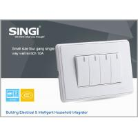 Quality GNW58C Classic design white,champagne plate 4 gang single way wall switches and socket for sale
