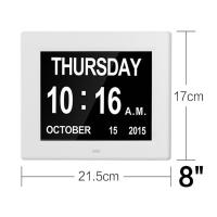 Quality 8 Inch Video Brochure Card LED Digital Desk Electronic Perpetual Calendar Alarm Day Clock for sale