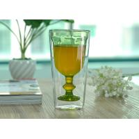 Quality Creative Handmade Stemware Double Wall Wine Glasses Light Green Colored for sale